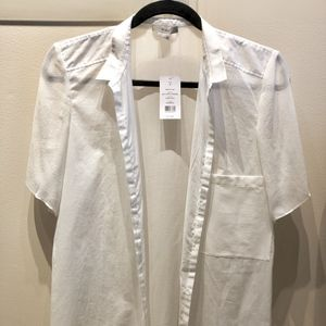 Helmut Lang white cotton/silk combo shirt NWT